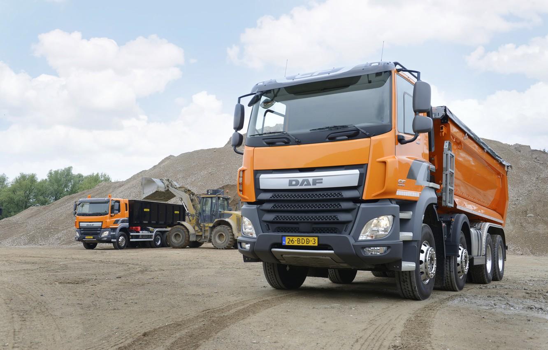 Photo wallpaper orange, DAF, DAF, dump truck, loading, machinery, 8x4, Euro6, DAF CF 460 FAD