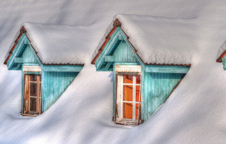 Photo wallpaper winter, snow, house