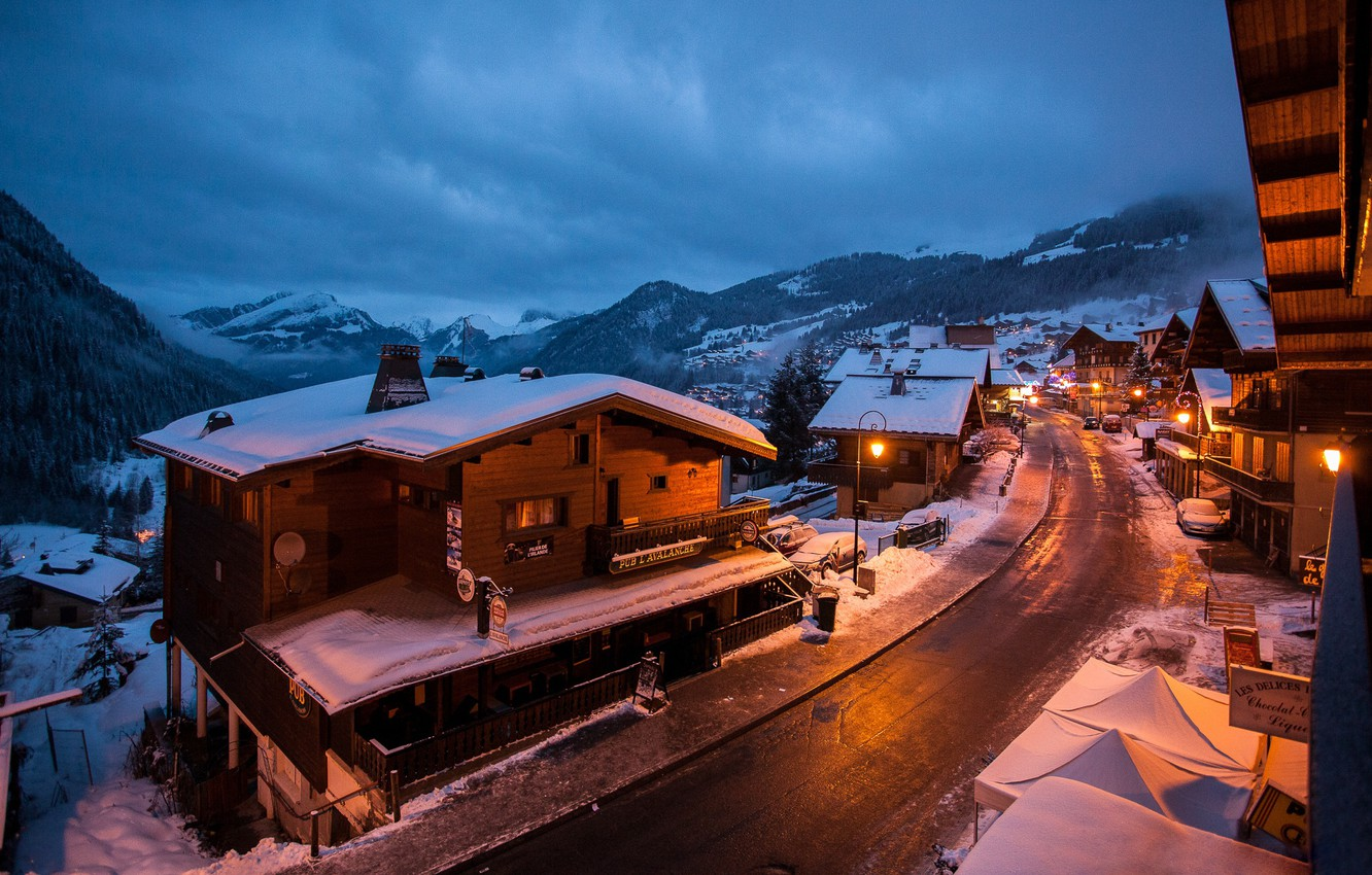 Photo wallpaper winter, mountains, lights, France, Chatel