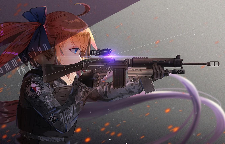 Photo wallpaper girl, weapons, anime, art, sight, Girls Frontline, Girls front