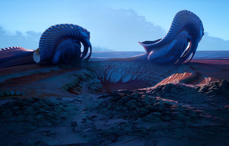 Photo wallpaper rendering, landscape, planet, art. fiction, Tyler Smith, Strange Worlds 06 (UE4)