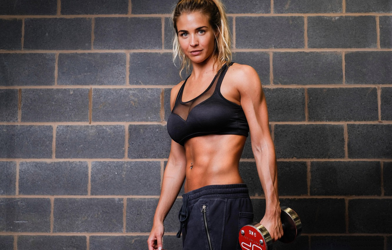 Photo wallpaper Gemma Atkinson, model, fitness, gym, dumbbell, sports form, gym clothes