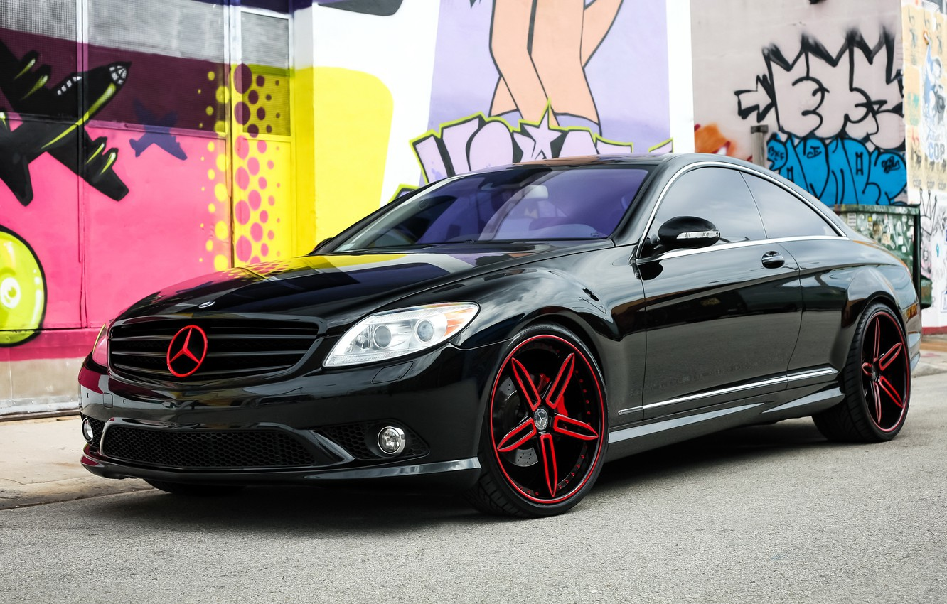 Photo wallpaper Mercedes, wheels, with, and, custom, color, full, brake, lowered, matched, calipers, CL550, repaint, badging