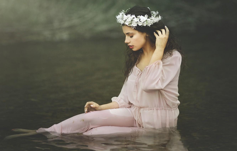 Photo wallpaper water, girl, flowers, mood, brunette, wreath