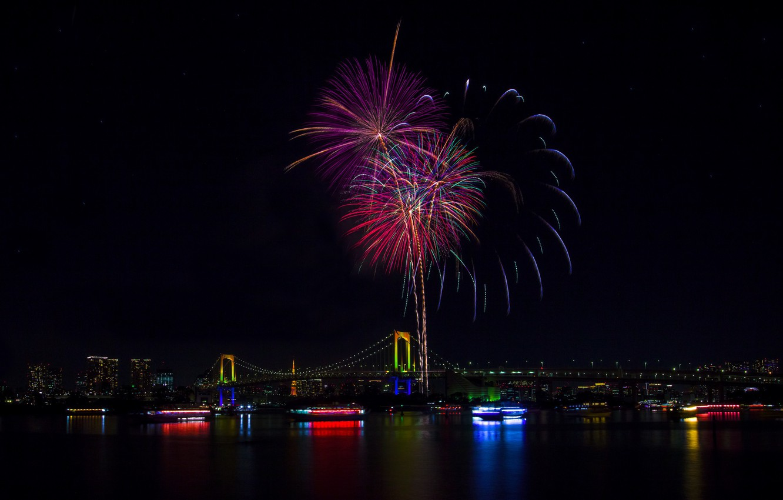 Photo wallpaper lights, holiday, the building, view, beauty, panorama, Tokyo, Japan, Rainbow Bridge, fireworks