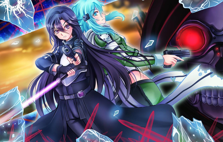 Wallpaper sword, gun, pistol, game, weapon, anime, MMORPG