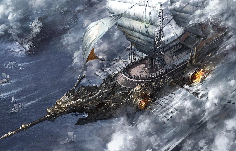 Photo wallpaper fire, ship, sails, solo, paddles
