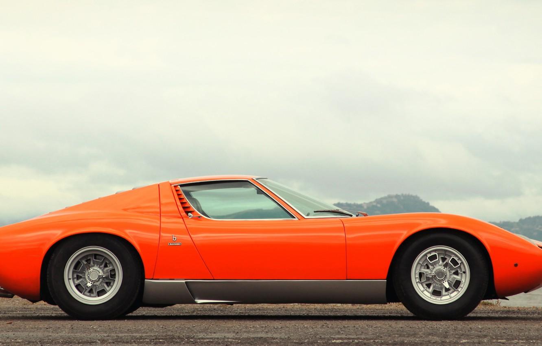 Wallpaper Auto Lamborghini Retro Machine Orange 1969 Car
