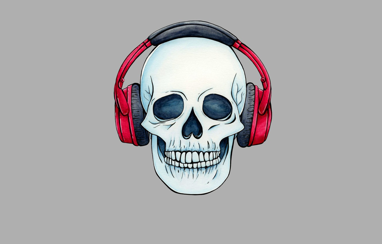 Photo wallpaper skull, minimalism, head, headphones, skeleton, sake