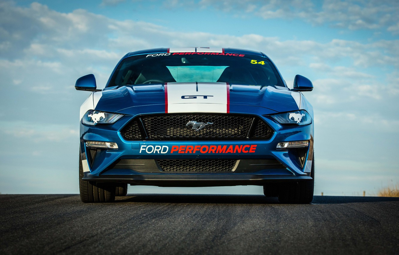 Photo wallpaper Ford, front view, Fastback, 2018, Mustang GT