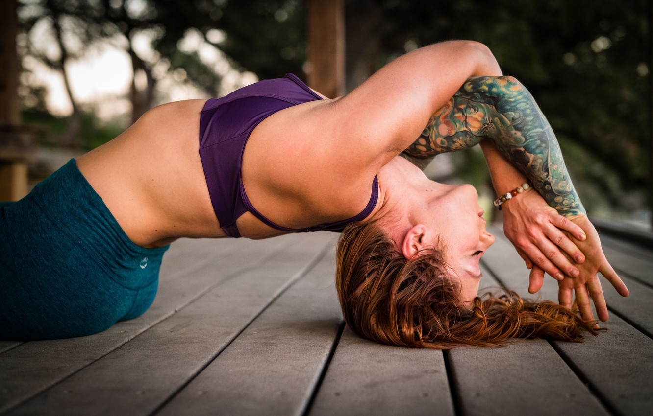 Photo wallpaper woman, tattoo, floor, yoga