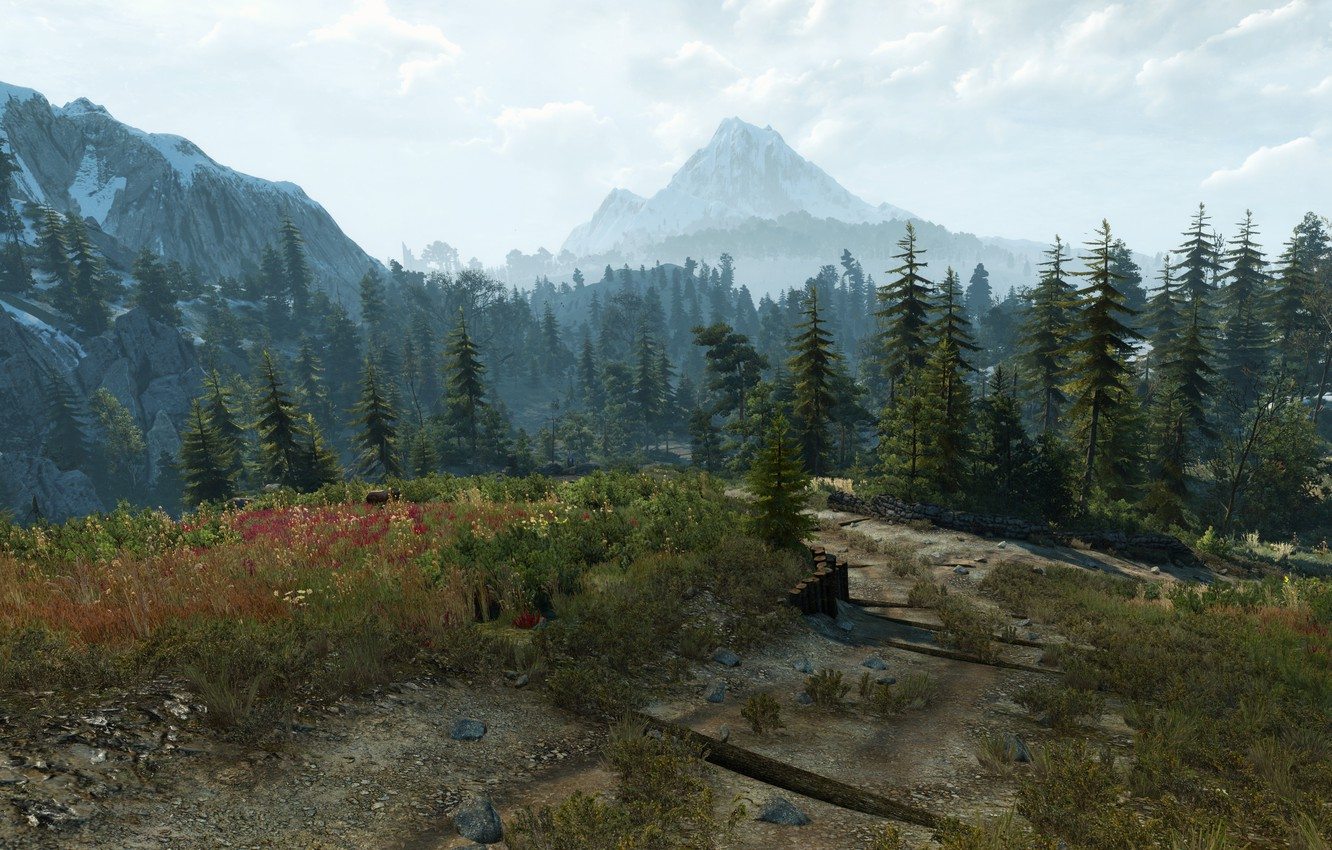 Photo wallpaper Road, Mountains, Fire, Index, Candle, The Witcher, The Witcher, The Witcher 3 Wild Hunt, The …