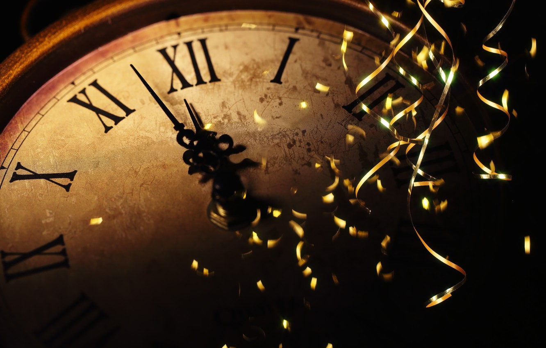 Photo wallpaper the rain, holiday, watch, New year, new year, midnight, holiday, watch, old watch