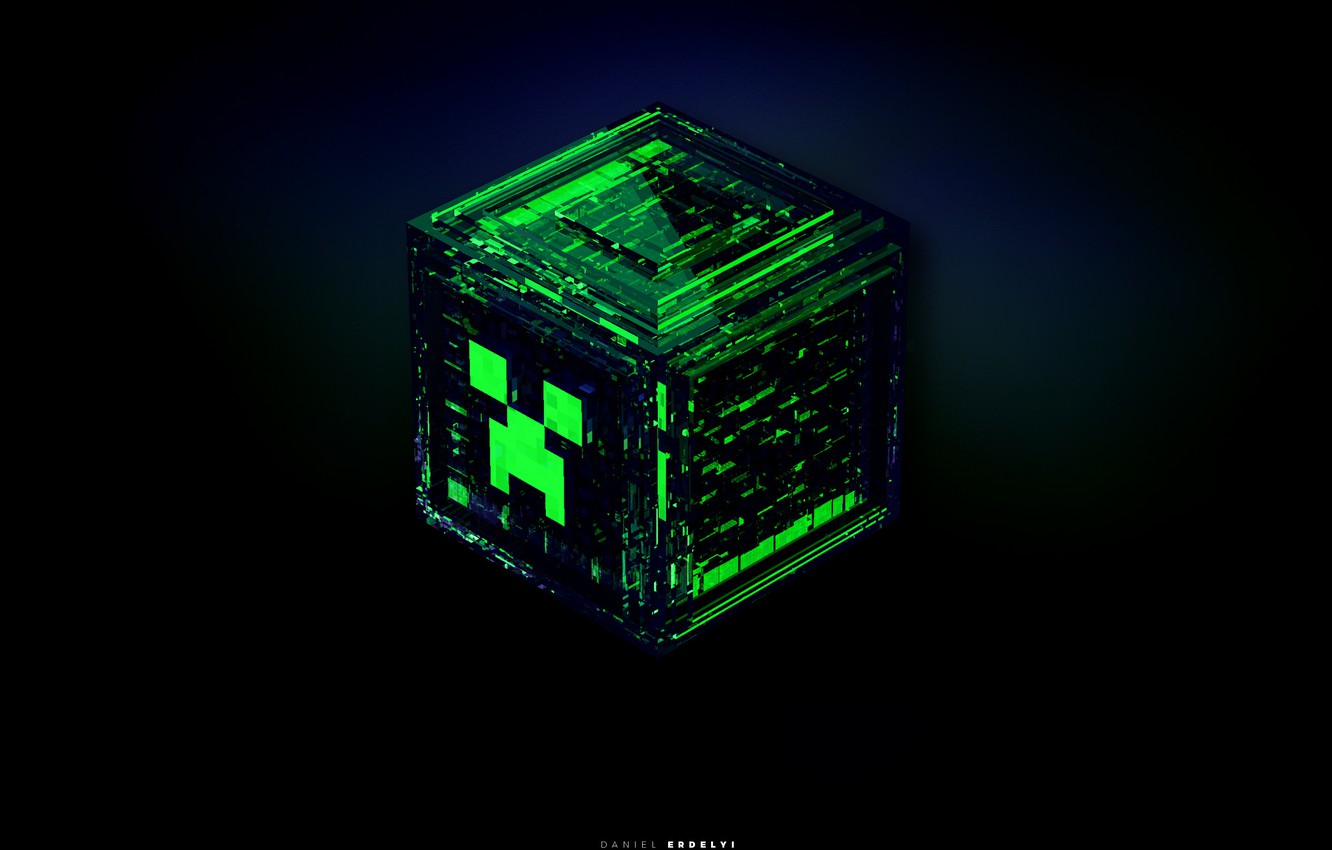 Photo wallpaper the explosion, blue, green, grey, black, the game, cube, game, minecraft, emerald, minecraft, creeper, fractures