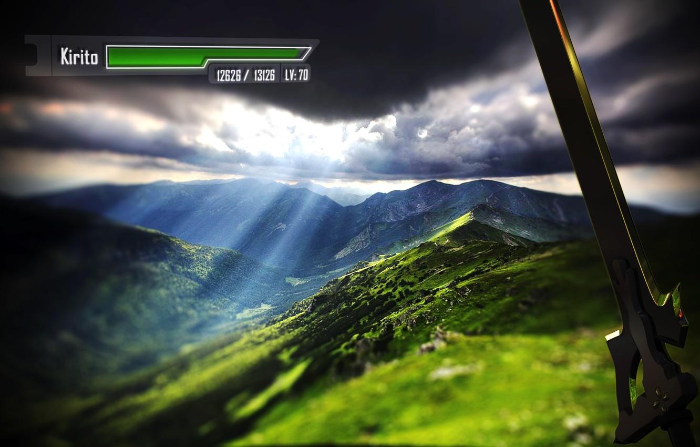 Photo wallpaper clouds, hills, sword, valley, game, the rays of the sun, Sword art online, Sword Art …