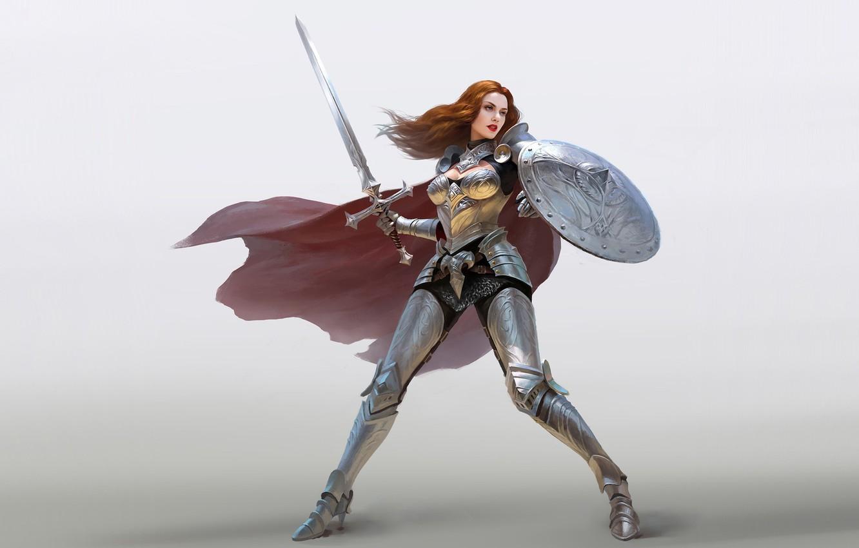 Photo wallpaper girl, hair, armor, warrior, Sword, shield