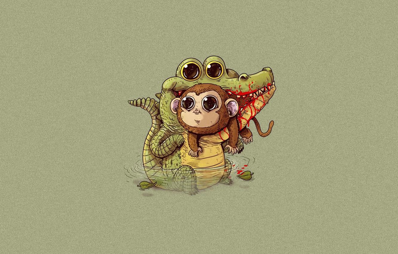 Photo wallpaper hopelessness, blood, the victim, crocodile, mouth, Cheburashka, art, monkey, Alex Solis, food chain
