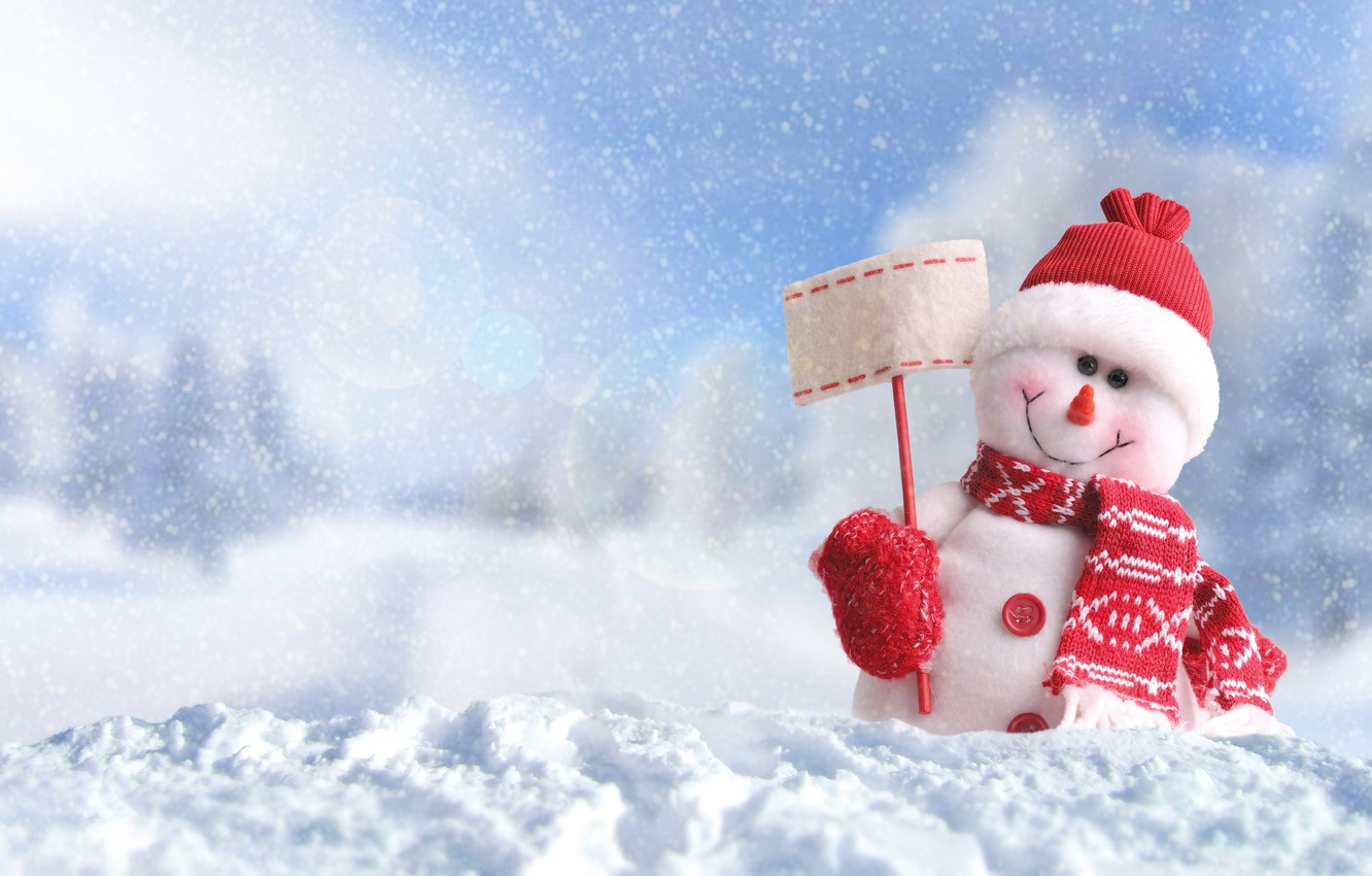 Photo wallpaper winter, snow, New Year, Christmas, snowman, Christmas, winter, snow, Merry Christmas, Xmas, snowman, decoration