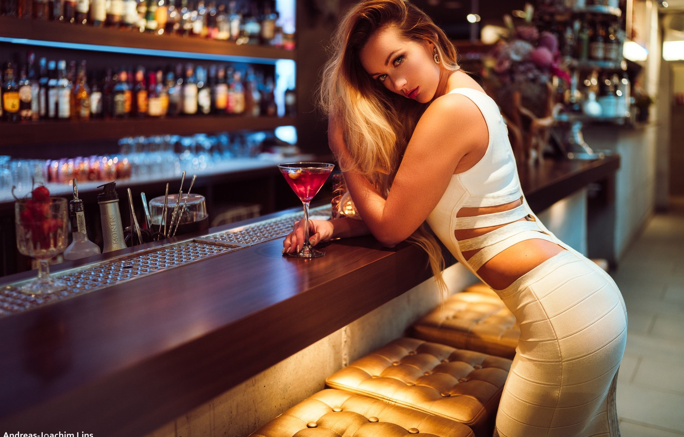 Photo wallpaper look, sexy, pose, model, glass, portrait, bar, makeup, figure, dress, hairstyle, beauty, is, in white, …