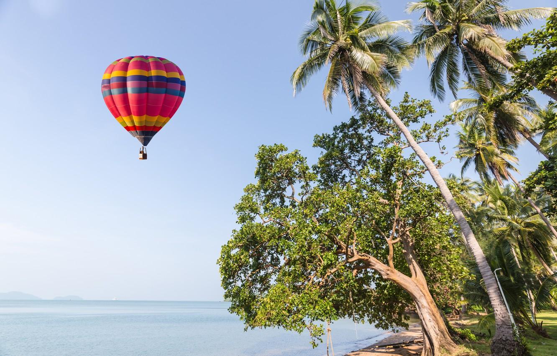 Photo wallpaper sand, sea, wave, beach, summer, the sky, balloon, palm trees, shore, summer, beach, sea, seascape, ...