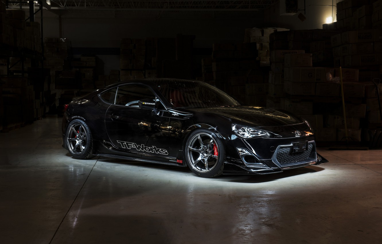 Photo wallpaper Black, Machine, Lights, Toyota, Drives, Tuning, The room, Scion FR S, The Dark Background