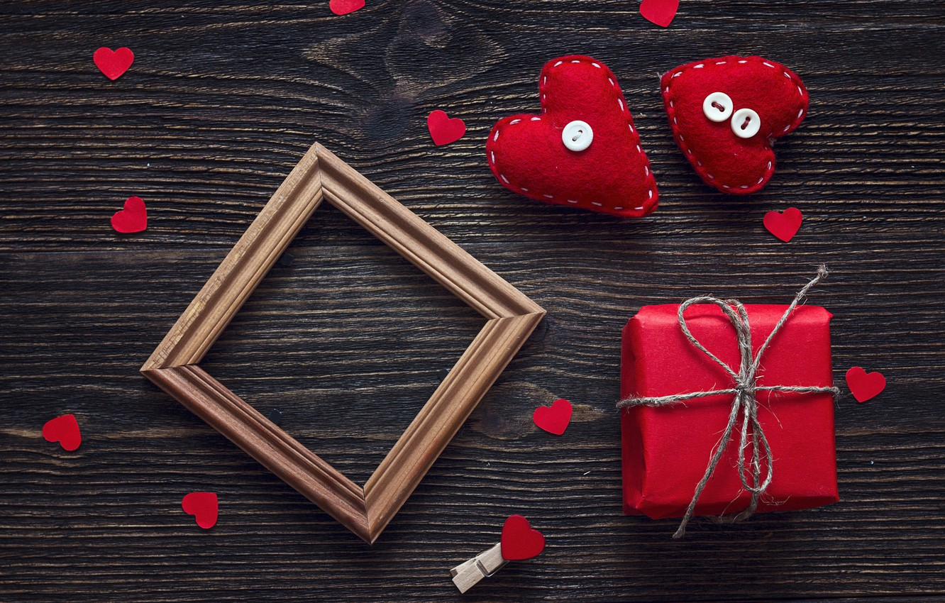 Photo wallpaper love, gift, heart, hearts, red, love, heart, wood, romantic, Valentine's Day, gift, decoration