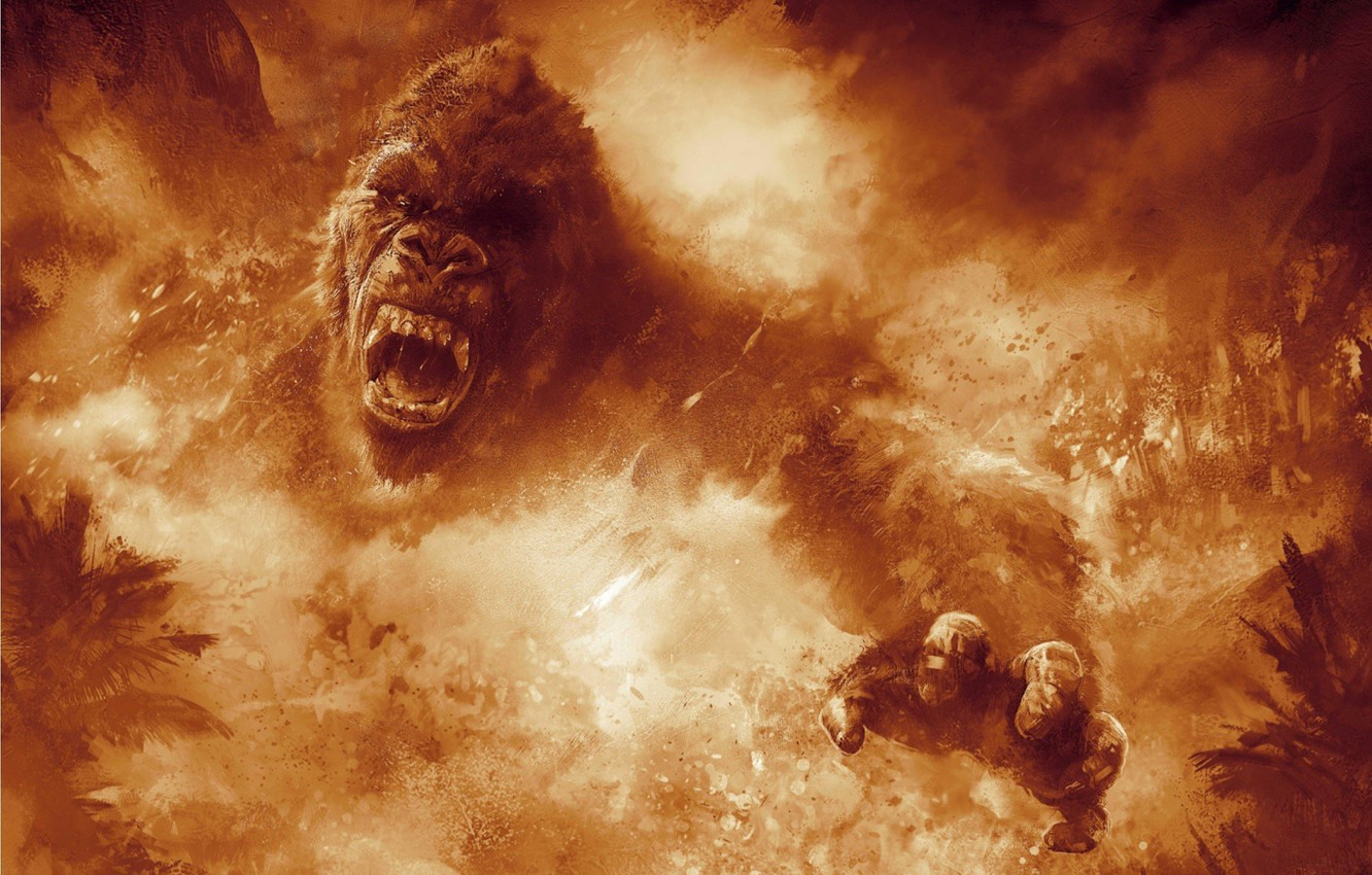 Photo wallpaper cinema, fire, flame, movie, animal, gorilla, fang, film, angry, strong, fury, spark, Kong: Skull Island, …