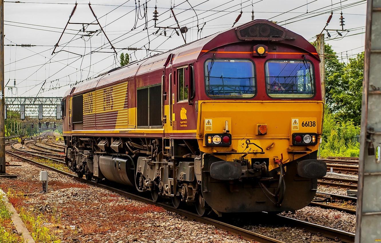 Photo wallpaper Train, Locomotive, Railroad