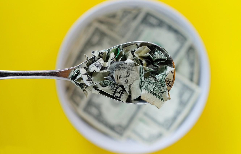 Photo wallpaper money, Breakfast, spoon, dollars, torn, bokeh