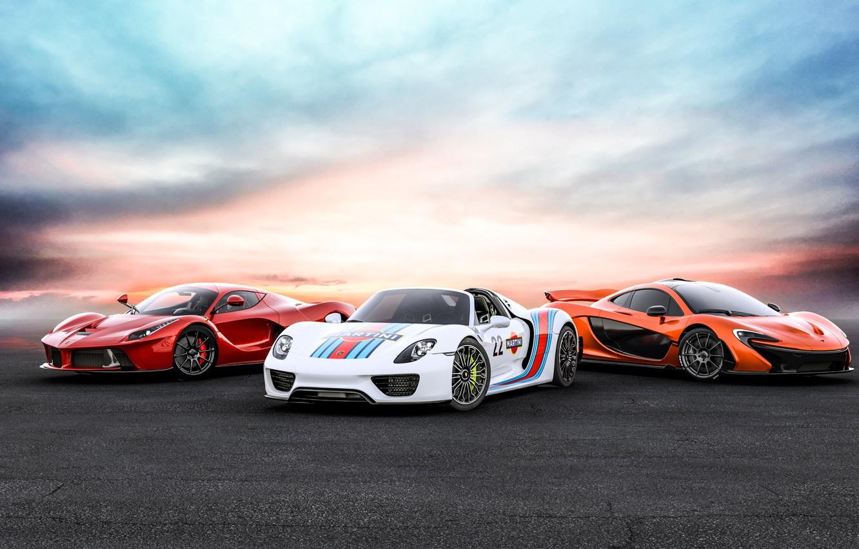 Photo wallpaper Porsche, Ferrari, LaFerrari, 918 Spyder, Mc Laren, Hyper Cars