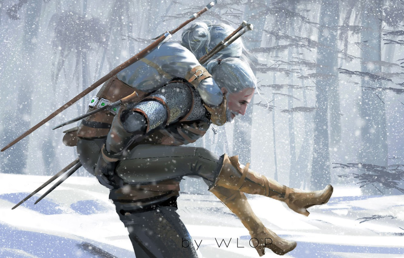 Photo wallpaper Winter, Figure, The game, Snow, Sword, Art, Art, Winter, The Witcher, Snow, Geralt, Game, Witcher, …