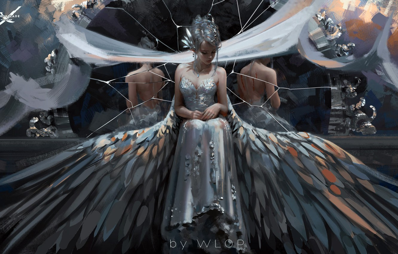 Wallpaper Girl Blood Fantasy Dress Wings Mood Sadness