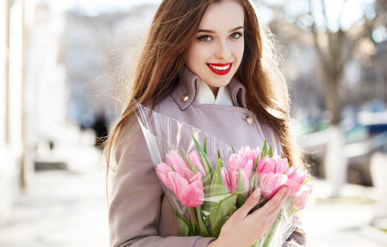 Photo wallpaper girl, the sun, flowers, smile, portrait, bouquet, makeup, hairstyle, tulips, brown hair, pink, beauty, coat, …