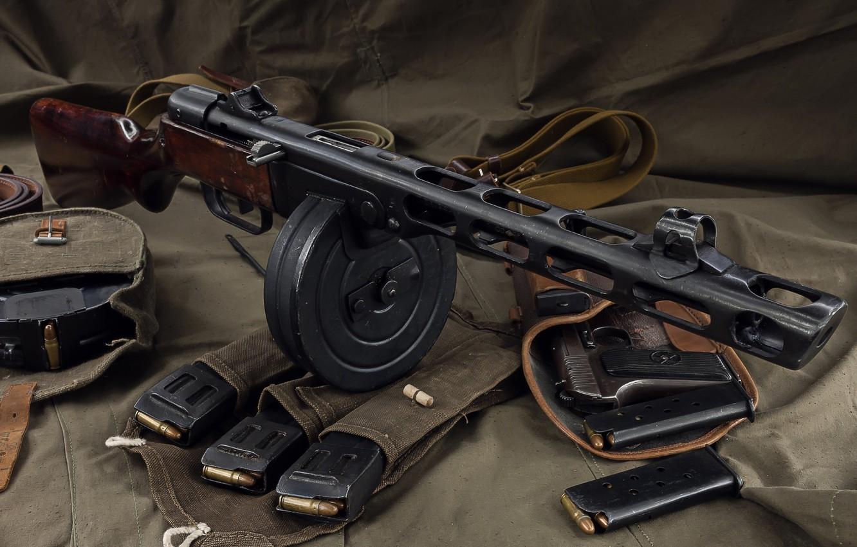 Photo wallpaper weapons, weapon, unloading, stores, gun machine gun, PCA, TT, PPSH, holster the gun