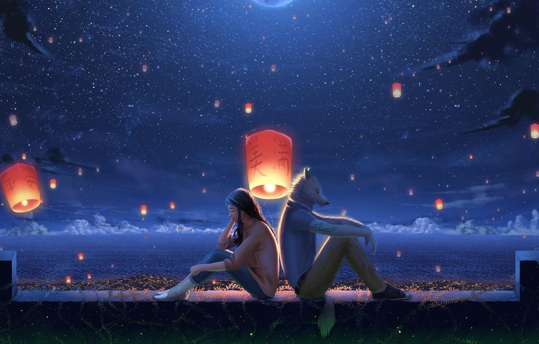 Photo wallpaper sea, girl, night, wolf, fantasy, lanterns, listen to the music
