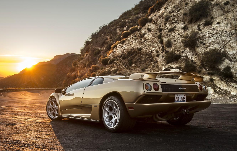 Photo wallpaper the sun, sunset, Lamborghini, supercar, Diablo, Lamborghini, Diablo