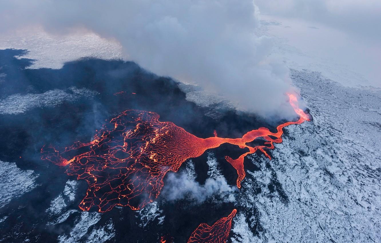 Photo wallpaper water, snow, nature, smoke, couples, lava
