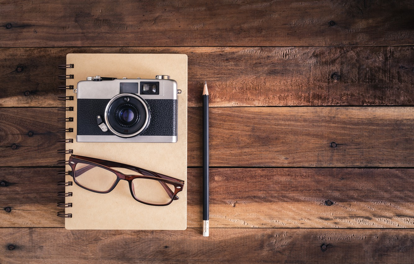 Photo wallpaper background, glasses, the camera, handle, Notepad