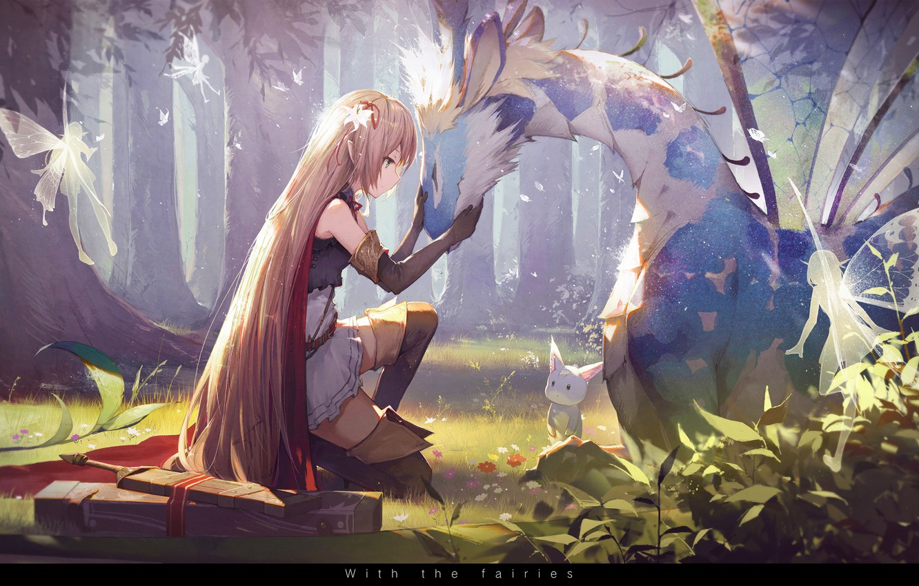 Photo wallpaper forest, animals, girl, trees, nature, weapons, magic, wings, anime, warrior, art, fairies, arisa, kieed, shadowverse