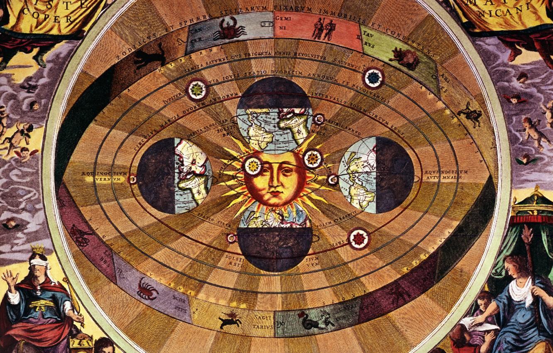 Photo wallpaper the sun, earth, the signs of the zodiac, Nicolaus Copernicus, The scientific revolution