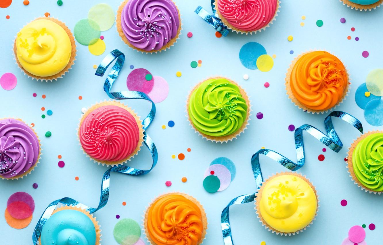 Photo wallpaper candles, colorful, rainbow, cake, cream, Happy Birthday, colours, cupcake, celebration, cupcakes, cream, decoration, candle, Birthday