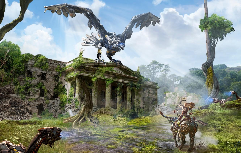 Wallpaper Sony, Art, PS4, Horizon: Zero Dawn, Aloy images ...