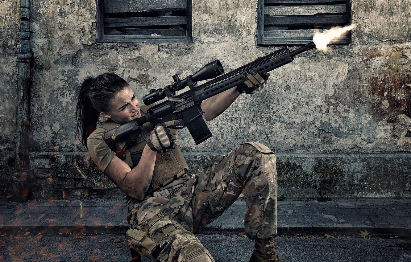 Photo wallpaper girl, face, weapons, shooting, form, assault rifle, fire
