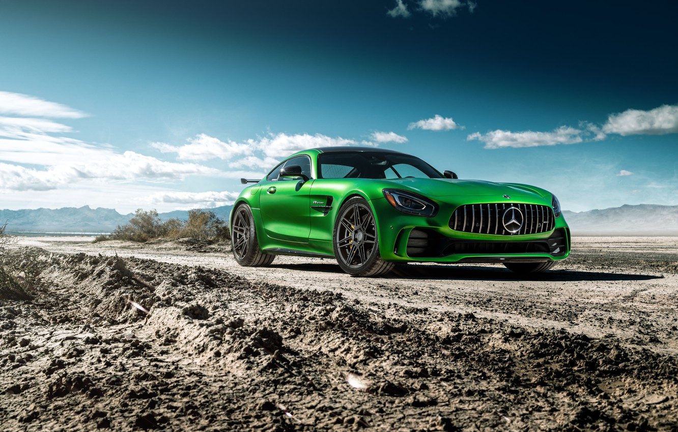 Photo wallpaper road, the sky, design, green, Mercedes GTR