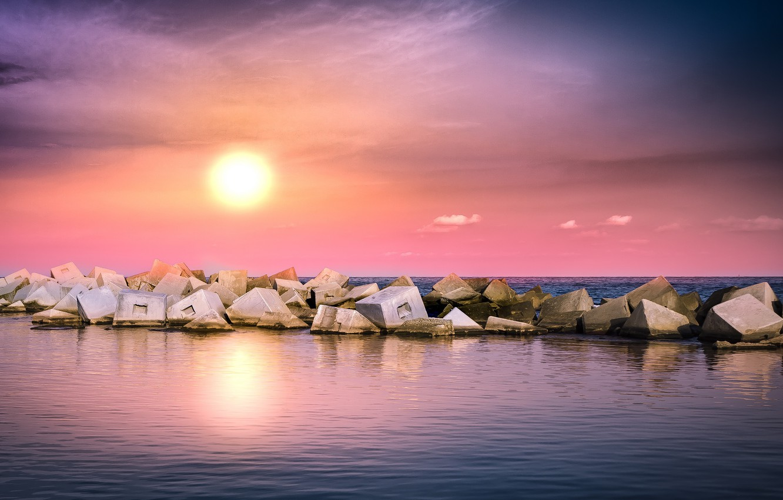 Photo wallpaper sea, landscape, sunset, nature, stones
