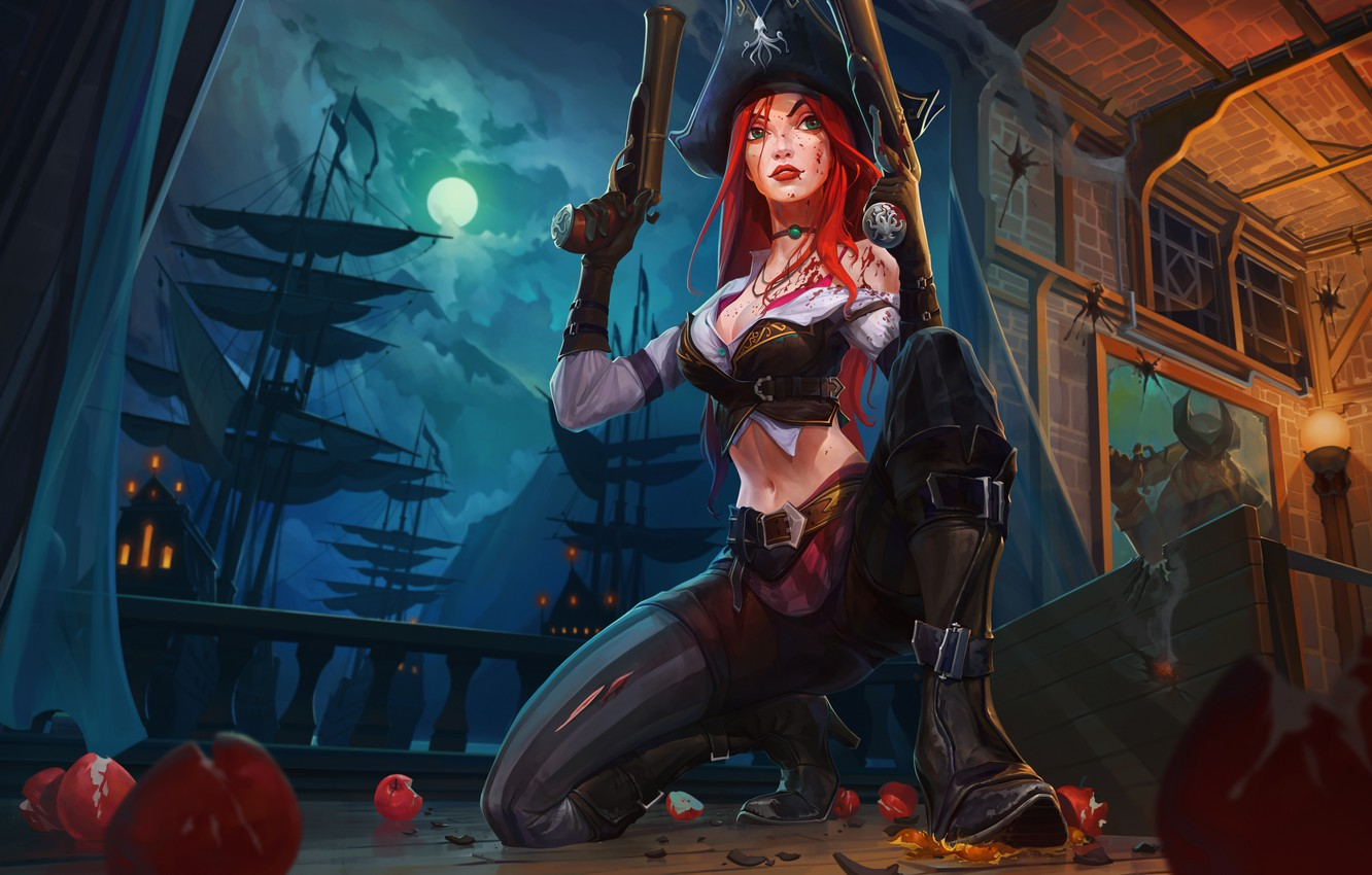 Photo wallpaper the sky, girl, clouds, night, the moon, ship, pirate, red, the full moon, art, lol, ...