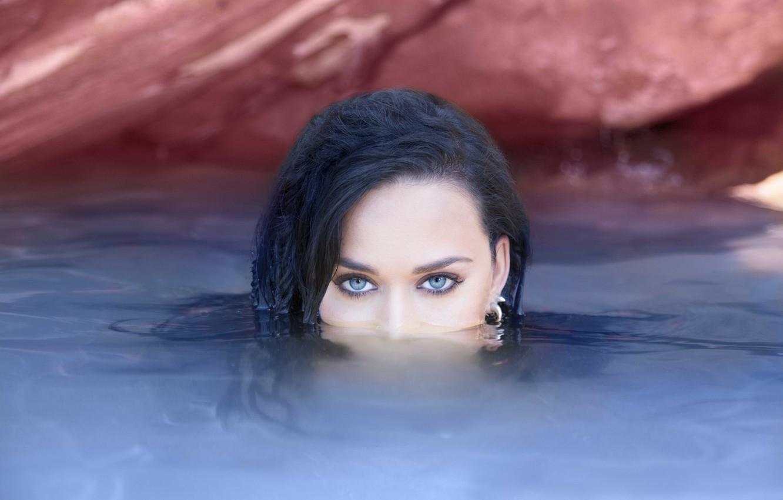 Photo wallpaper eyes, look, water, Katy Perry, singer