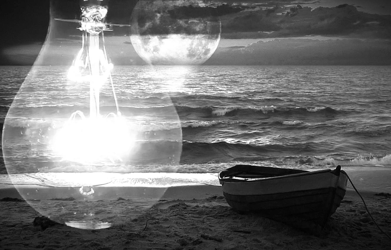 Photo wallpaper sea, wave, light bulb, sunset, boat, The moon