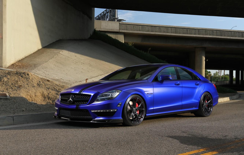 Photo wallpaper Mercedes, Blue, AMG, Stuttgart, CLS63