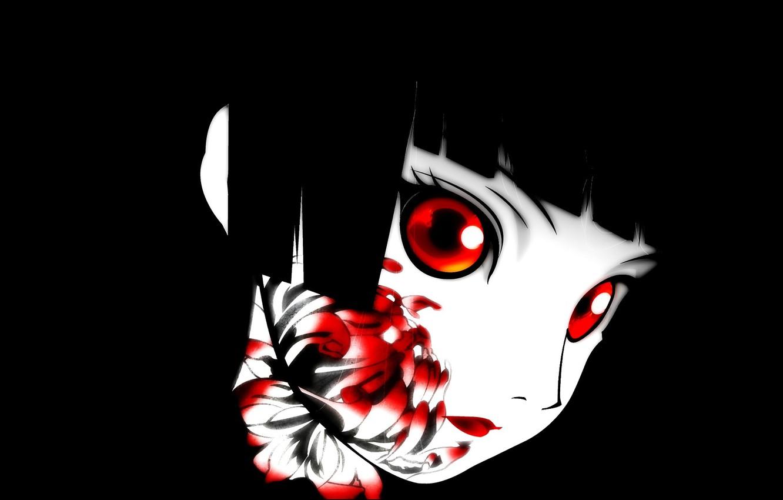 Photo wallpaper void, darkness, red eyes, black hair, art, bloody, chrysanthemum, Enma Ai, Jigoku Shoujo, Hell girl, …